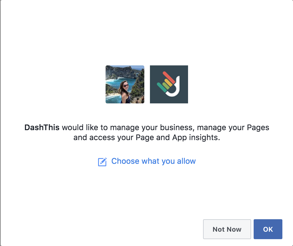 Authorize access to FB