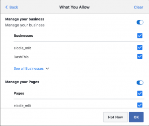 Grant access to page FB