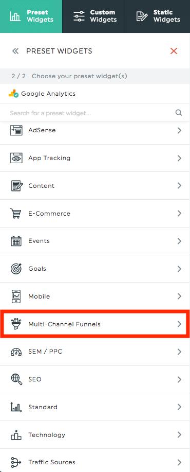preset widgets multi-channel funnels
