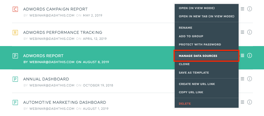 Manage data sources - db manager