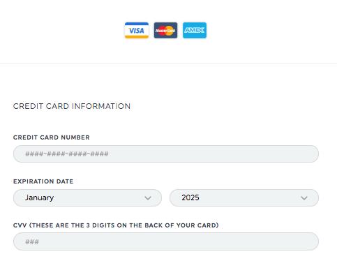 Credit Card Info - Plan&Billing