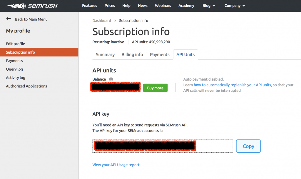 SEMrush API key