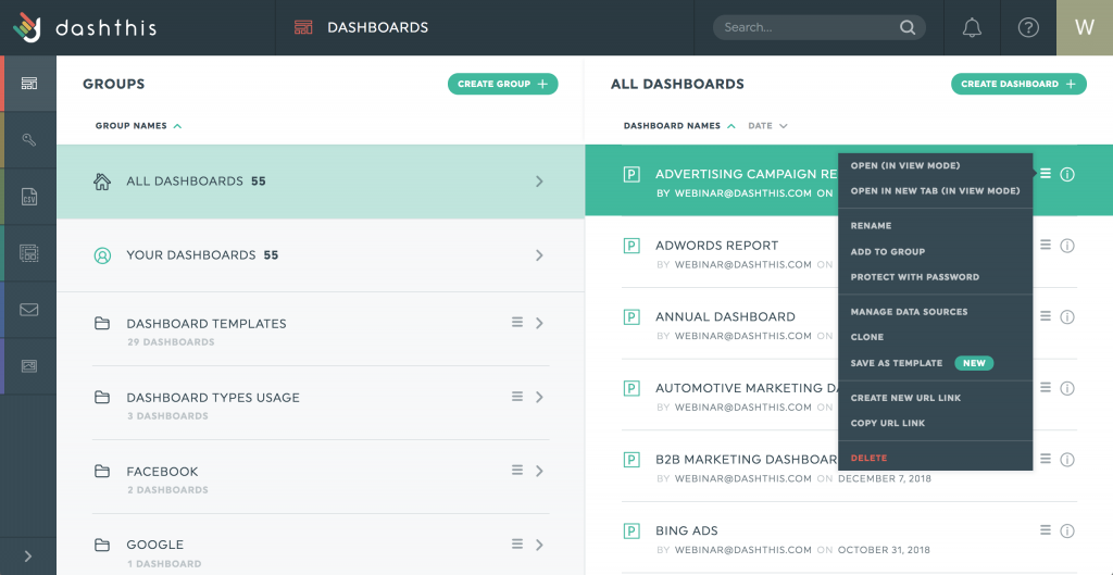 save as template dashboard manager